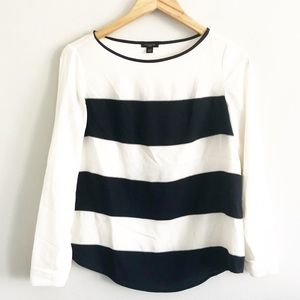 Ann Taylor Navy Stripe Boatneck Blouse